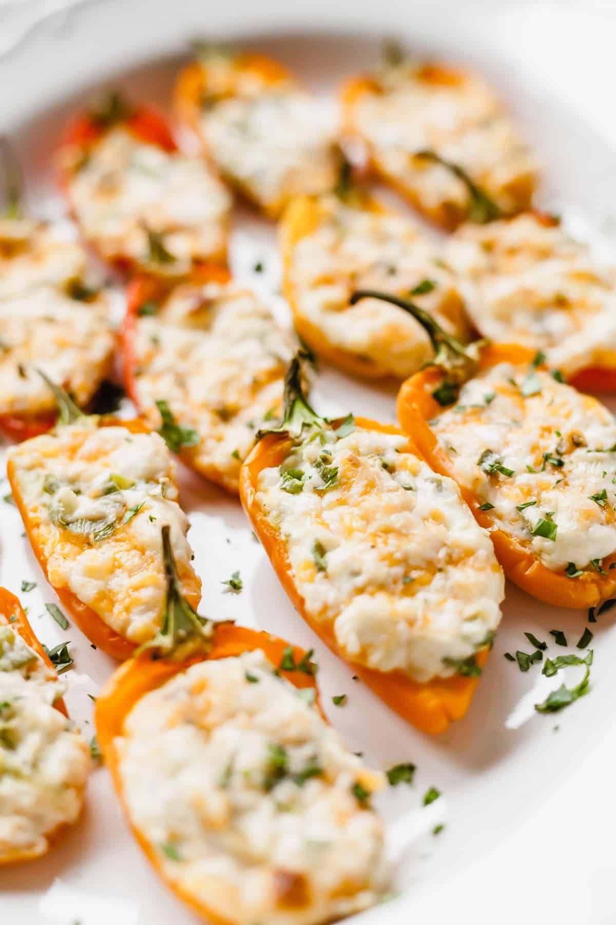 cream cheese stuffed mini peppers on a white plate