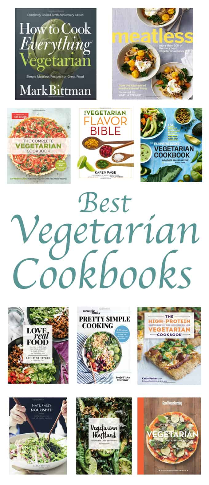 collage of the best vegetarian cookbooks