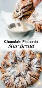 chocolate pistachio christmas star bread