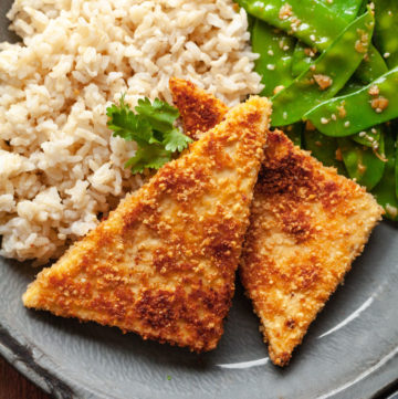 peanut pan fried tofu on a plate with rice and veggies