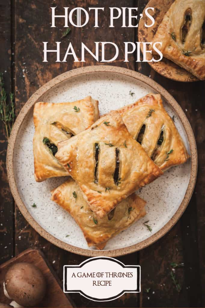 hot pie's hand pies on a brown plate for a game of thrones party