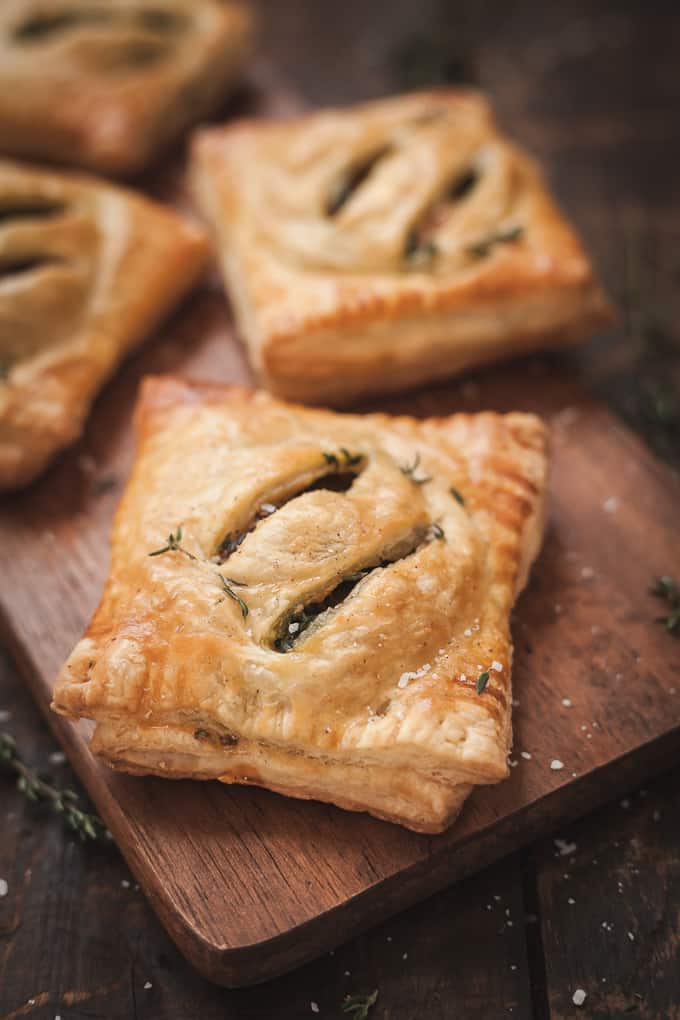 hot pie's hand pies on a wood cutting board