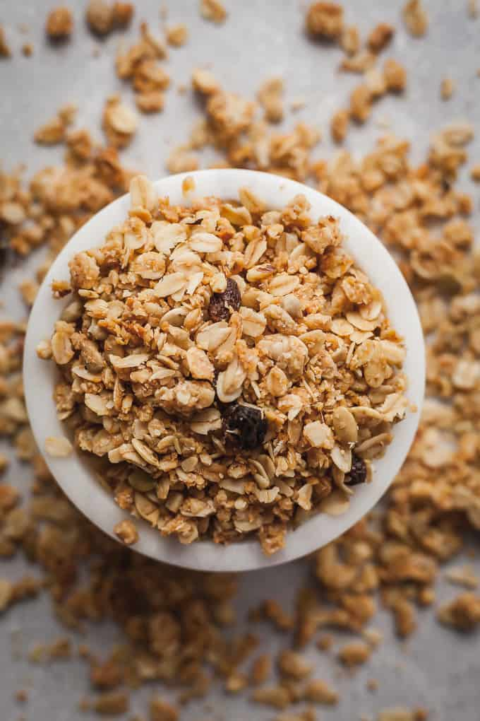 bran granola in a small white bowl