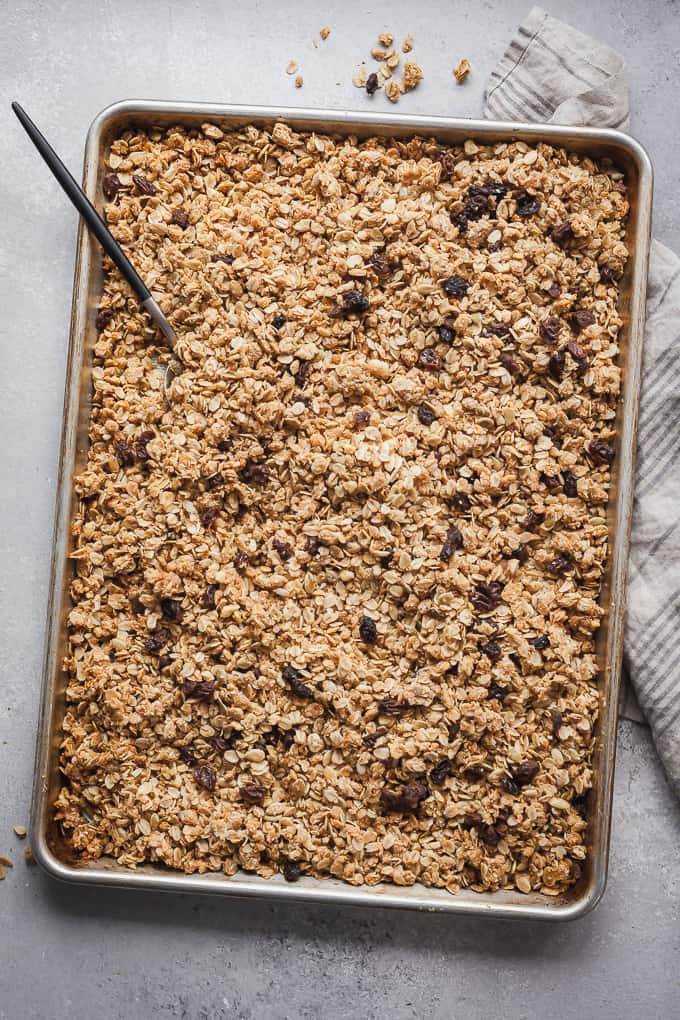 bran granola on a baking sheet with a spoon for a game of thrones party