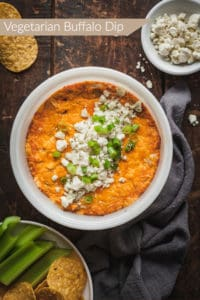 pinterest image for vegetarian buffalo dip