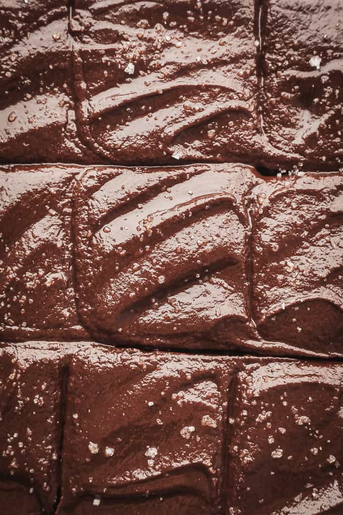 close up of sweet potato brownies with sweet potato frosting