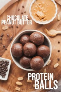 pinterest image for chocolate peanut butter protein balls
