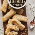 Pinterest image for baked vegetable egg rolls