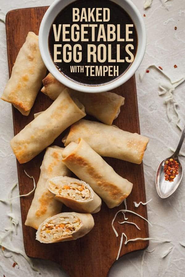 Pinterest image for baked vegetable egg rolls
