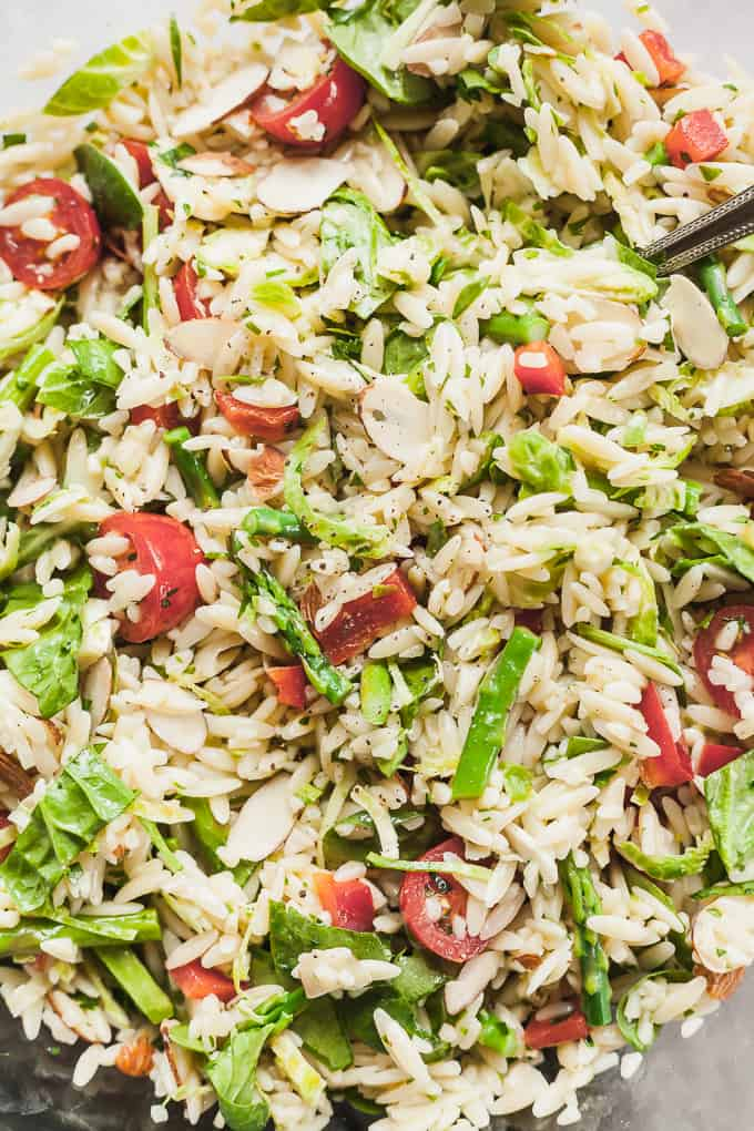 close up photo of vegan orzo pasta salad