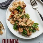 pinterest image for quinoa salad with balsamic tofu