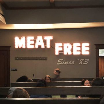 chicago diner sign that says meat free since '83
