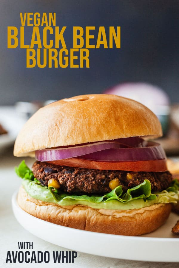 pinterest image for black bean burgers with avocado whip