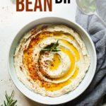 pinterest image for white bean dip