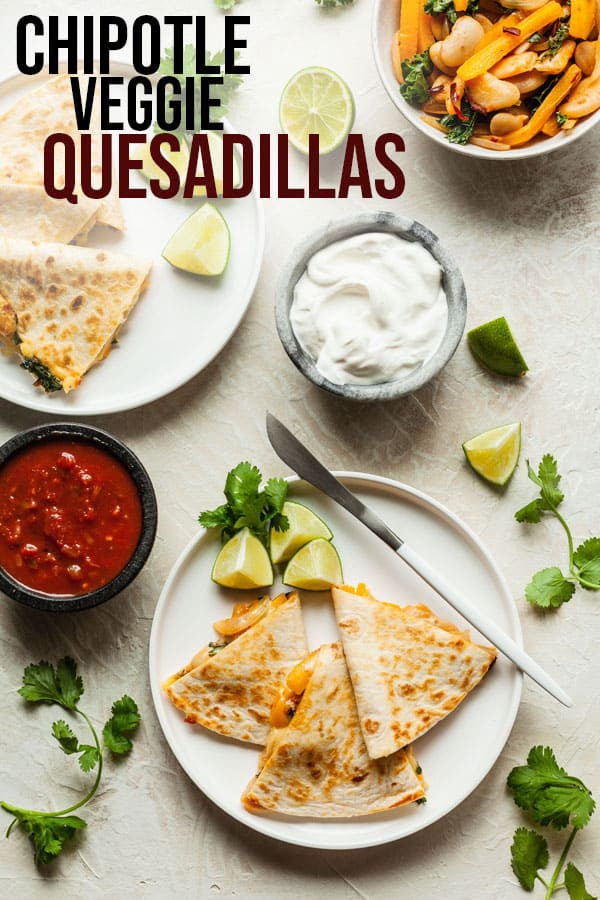 pinterest image for chipotle veggie quesadillas