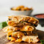a stack of vegetarian quesadillas