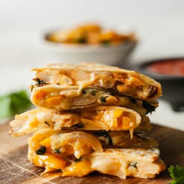 a stack of vegetarian quesadillas