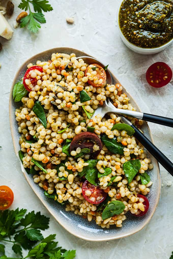 Israeli Couscous Salad With Pistachio Pesto The Live In Kitchen