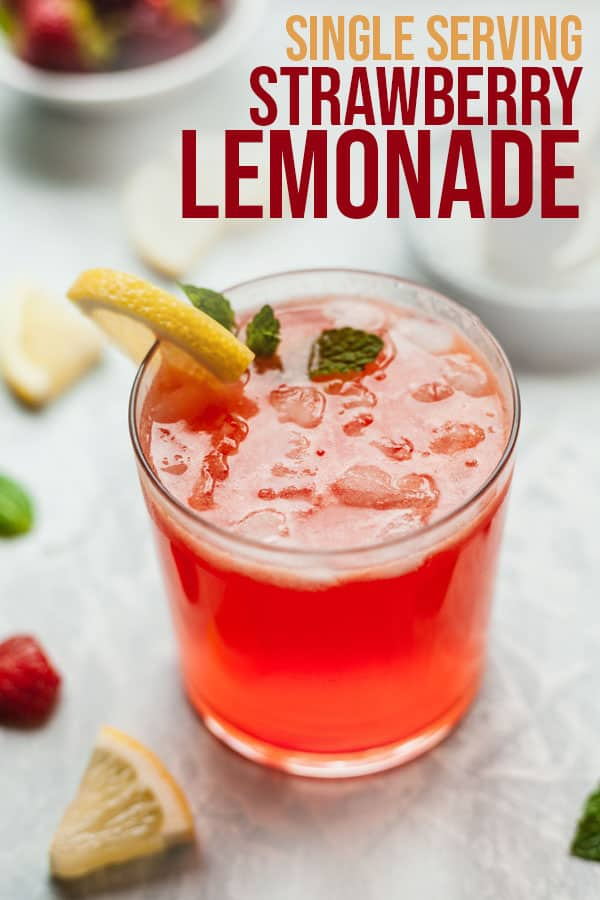 pinterest image for single serving strawberry lemonade