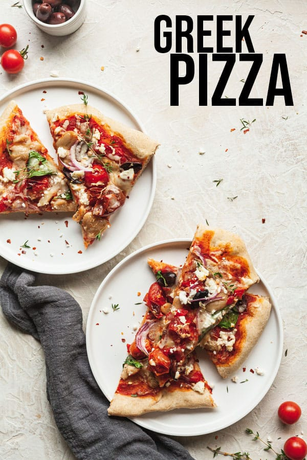 pinterest image for greek pizza
