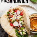 pinterest image for double bean pita sandwich