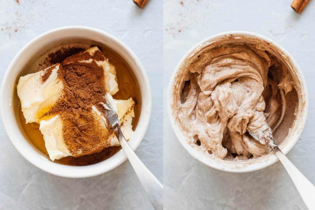 cinnamon honey butter before and after stirring