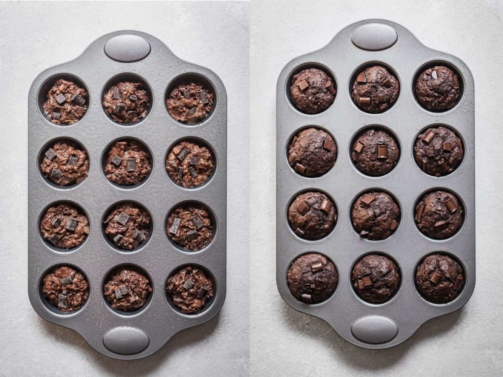 double chocolate zucchini muffins in the pan before and after baking
