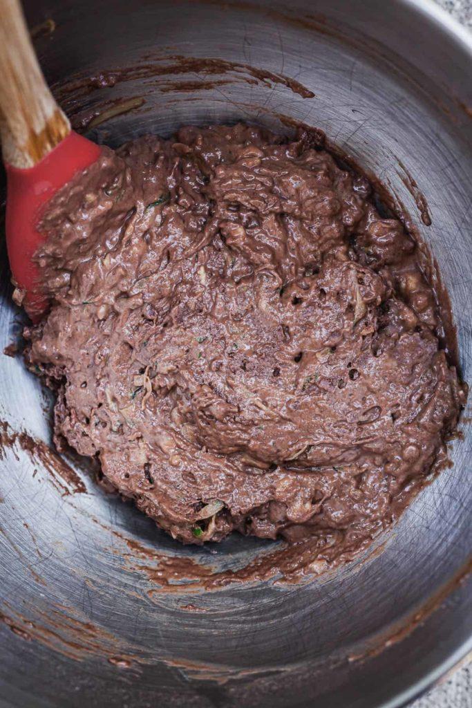 vegan chocolate zucchini muffin batter
