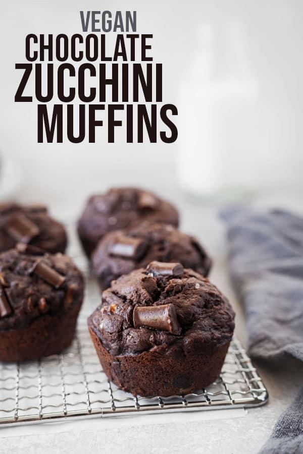 pinterest image for vegan chocolate zucchini muffins