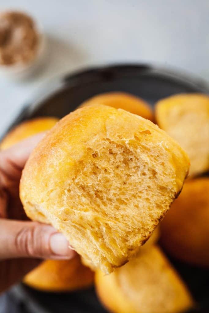 close up photo of a sweet potato bun