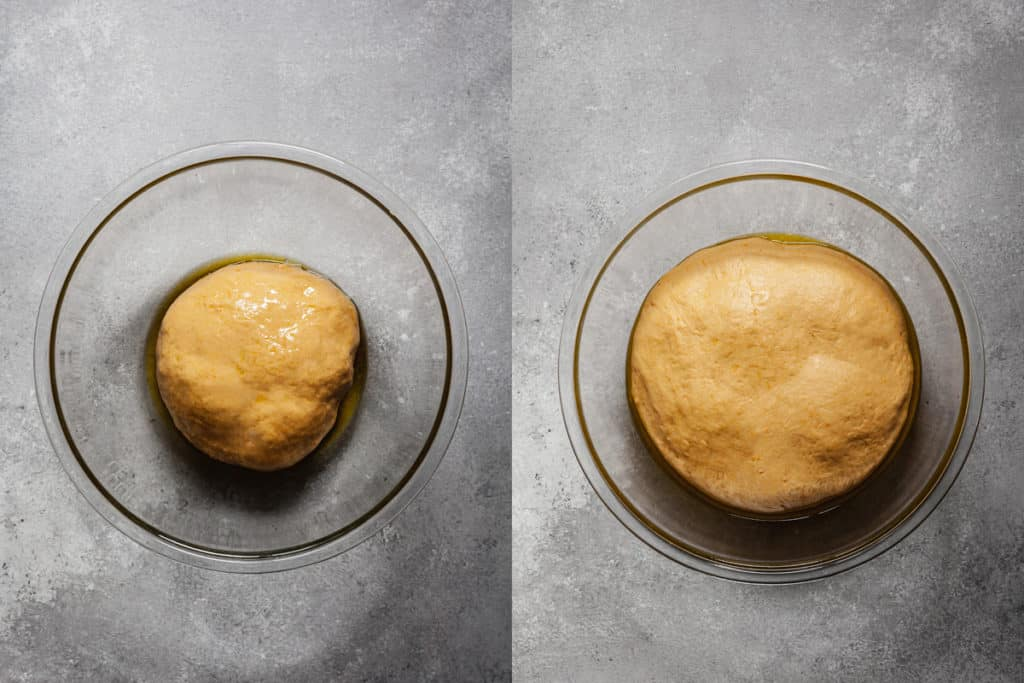 sweet potato roll dough before and after rising