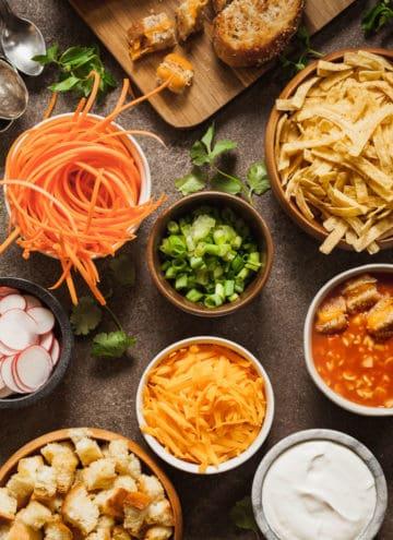 vegetarian football snacks on a brown table