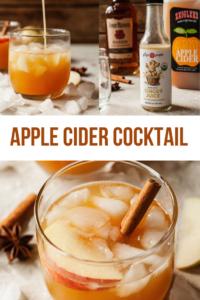 pinterest image for apple cider bourbon cocktail recipe