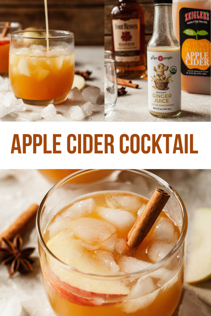 pinterest image for apple cider bourbon cocktail recipe
