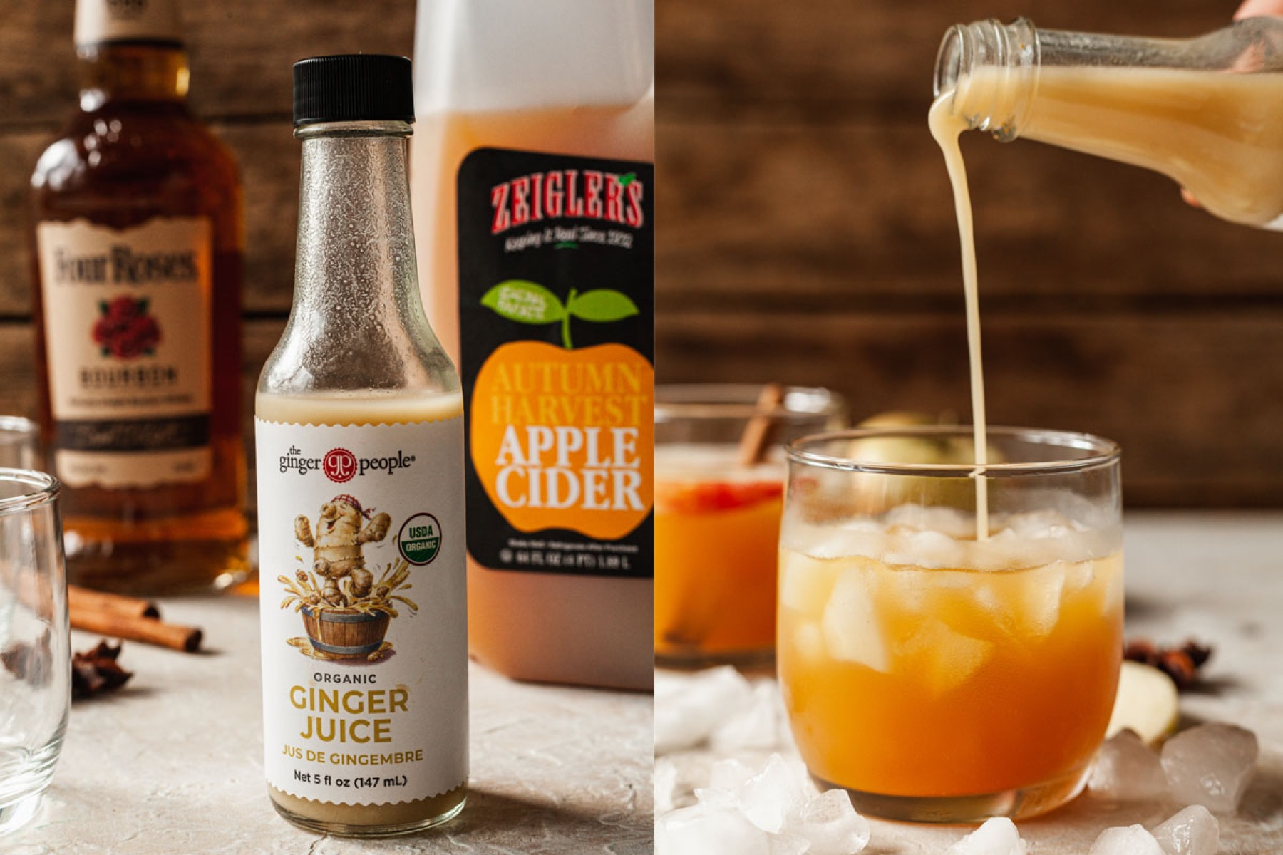 a photo of apple cider cocktail ingredients and ginger juice being poured into a cocktail