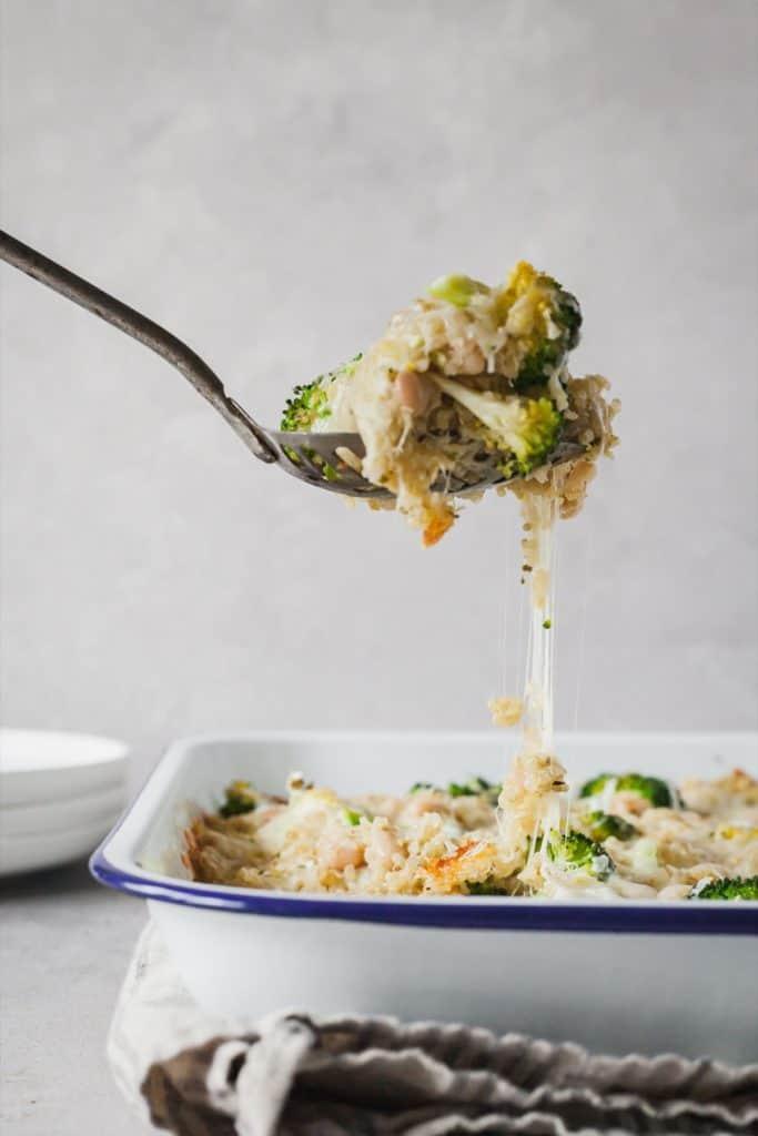 fork lifing broccoli quinoa casserole