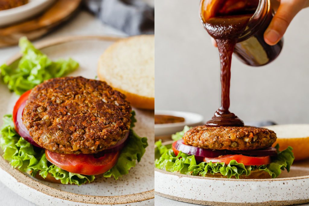 two images, one of a lentil burger with the top bun off, and another with a hand pouring bbq sauce onto it