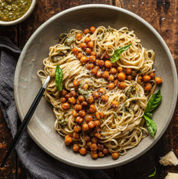 a bowl of pesto linguine with crispy balsamic chickpeas