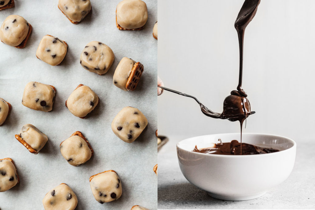 pretzel cookie dough truffles on a baking sheet and being dipped in chocolate