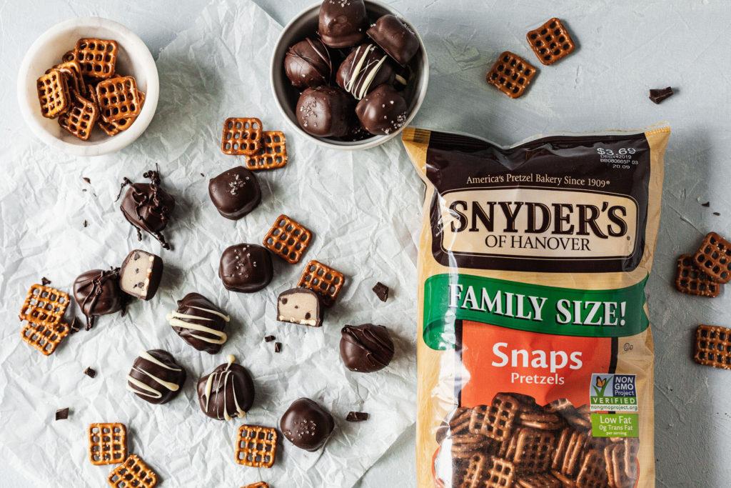 a bag of pretzel snaps with pretzels and cookie dough bites