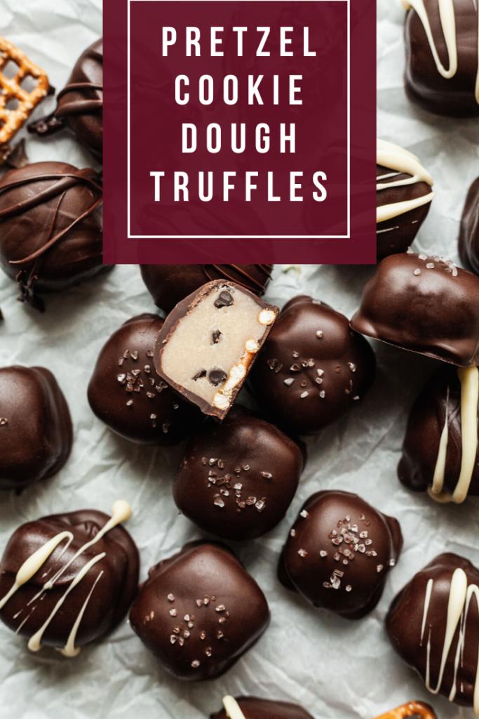 pinterest image for pretzel cookie dough truffles