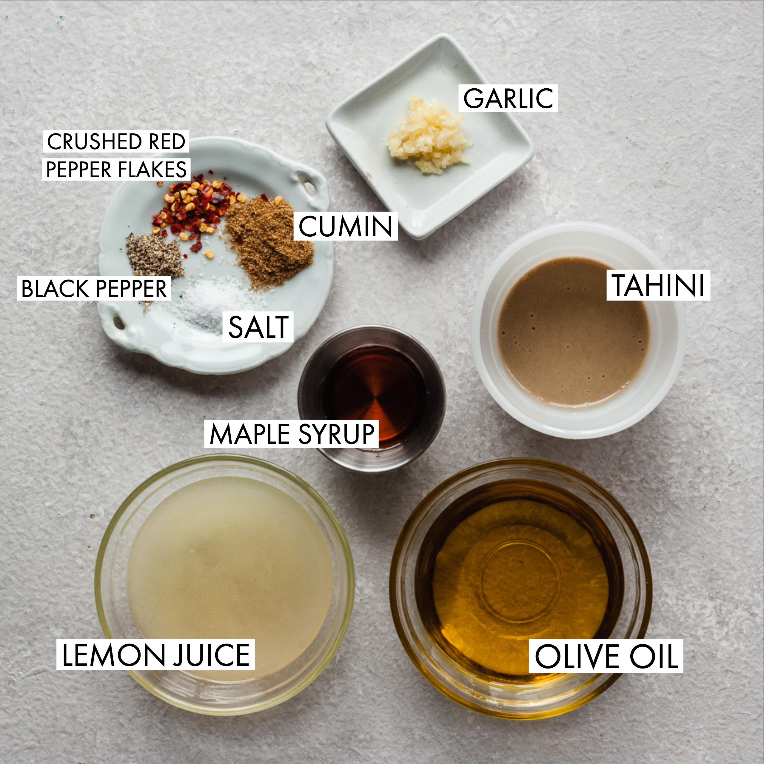 ingredients for lemon tahini dressing