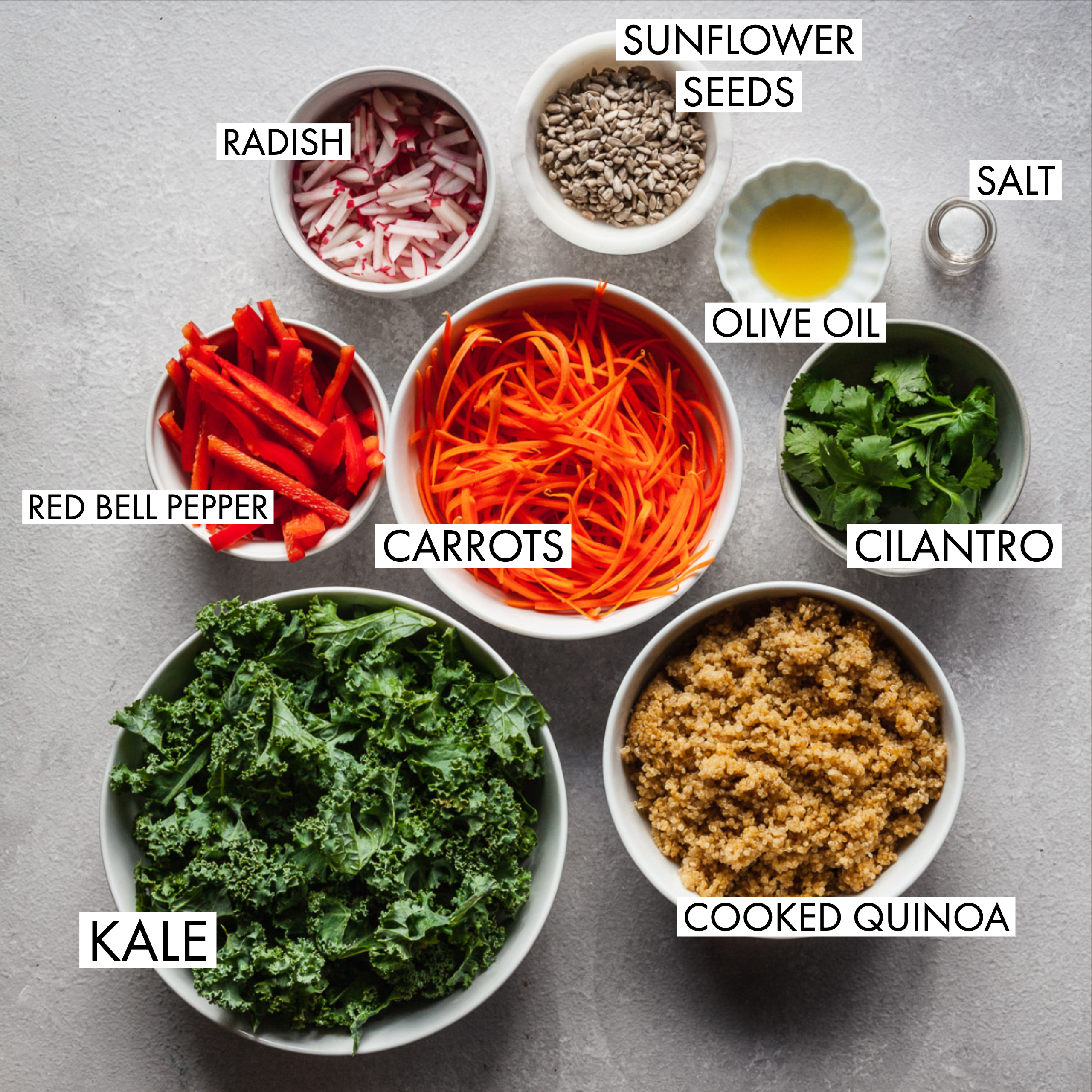 ingredients for kale quinoa salad