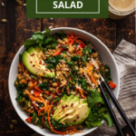 pinterest image for kale and quinoa salad
