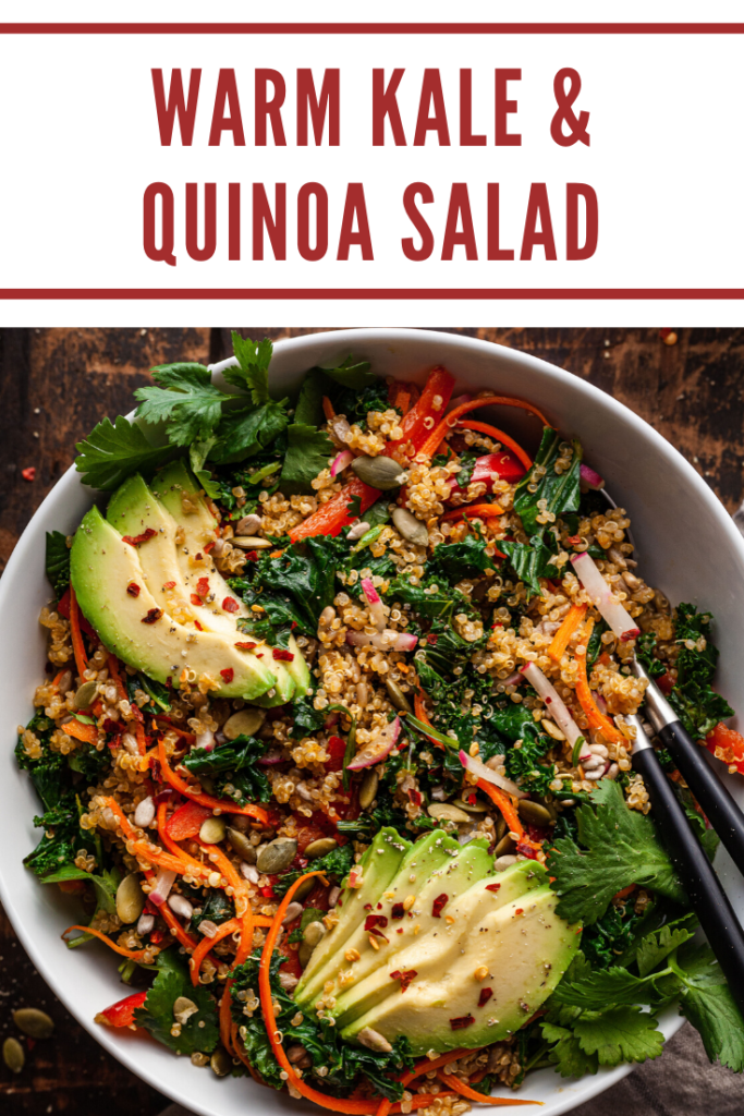 pinterest image for warm kale and quinoa salad