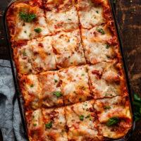 roasted vegetable lasagna in a pan
