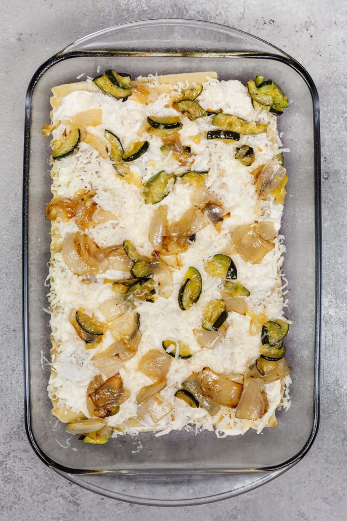 roasted vegetables sprinkled into lasagna layers