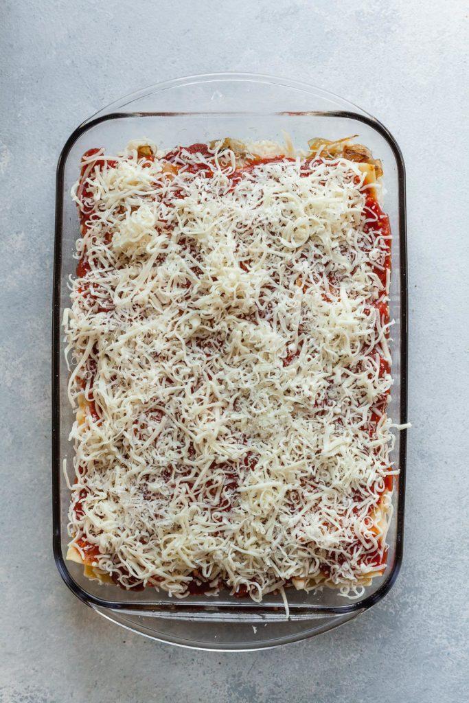 vegetarian lasagna before cooking
