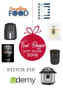 pinterest image for food blogger gift guide