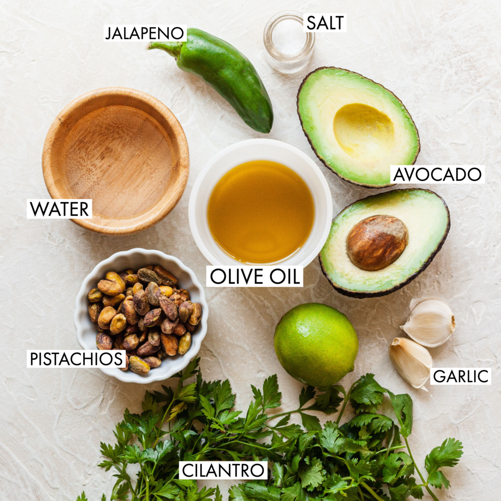 ingredients for creamy green avocado sauce